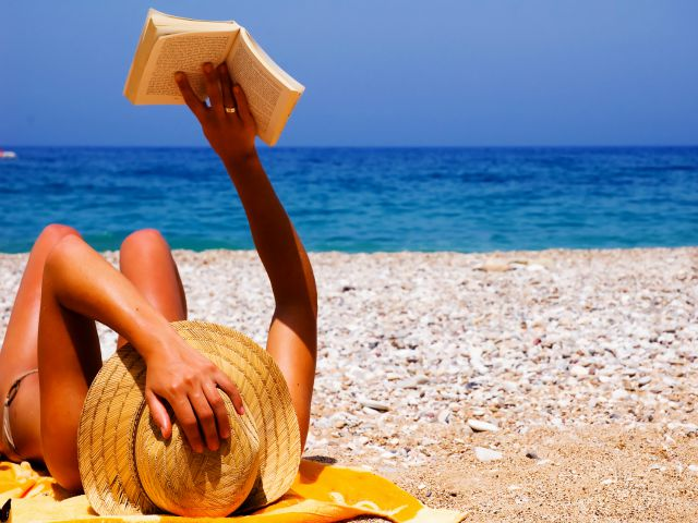 Book, vacations, beach