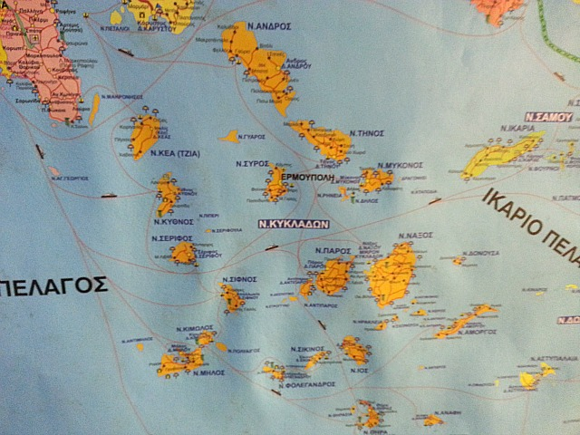 Cyclades, map